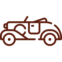 An icon depicting a vintage car