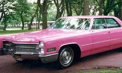 An image of the the fabulous pink Cadillac