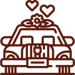 An icon depicting a classic wedding car
