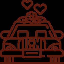 An icon depicting a classic wedding car